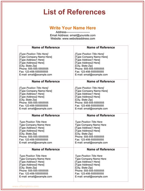 Reference List Format Template by 3 Free Printable Reference List Template For Word