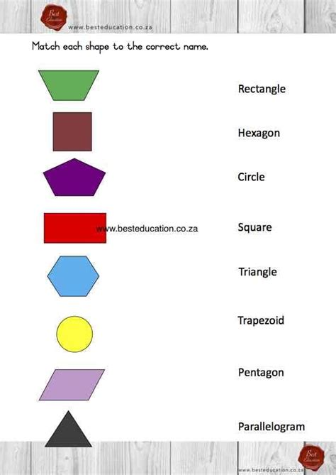 matching   shapes names grade  maths wwwbesteducation