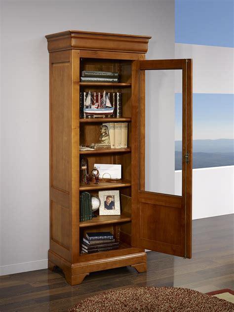 vitrine 1 porte clarisse en merisier massif de style louis philippe meuble en merisier massif