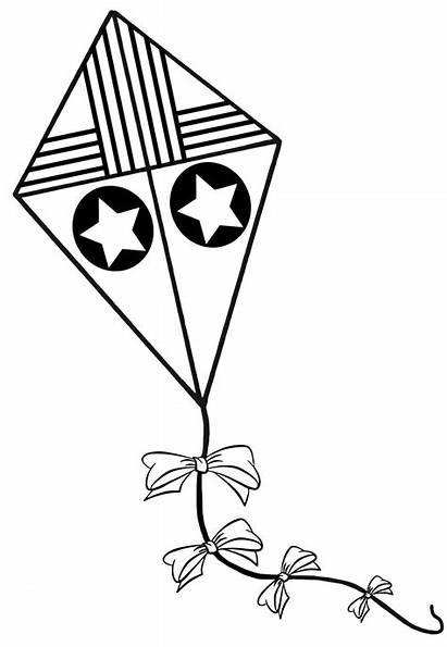 Kite Coloring Pages Clipart Drawing Printable Clip