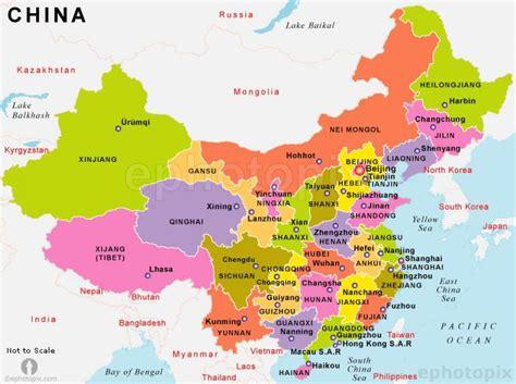 Ķīna valstu kartes - Ķīna karte ar valstīm (Austrumu Āzijā ...