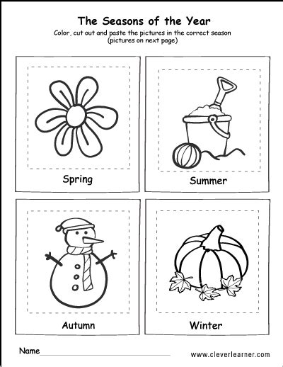 cut out four seasons worksheets kindergarten cut best