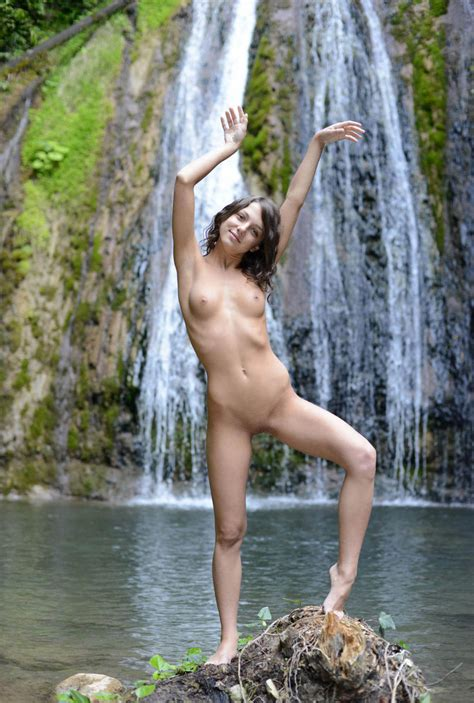 Beautiful Russian Teen With Perfect Body Near Waterfall