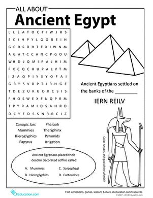 all about ancient egypt worksheet education
