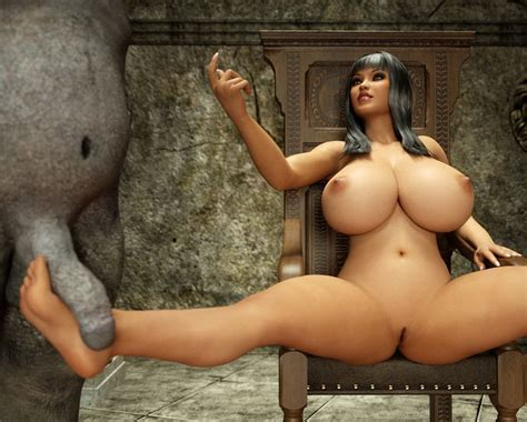 Busty Bitch Gives A Horny Monster A Nice Footjob