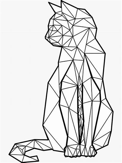 Geometric Cat Sticker Redbubble Shapes Coloring Drawing