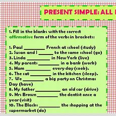 Present Simple All Forms Practice