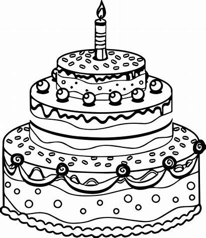 Cake Birthday Coloring Pages Drawing Chocolate Cakes