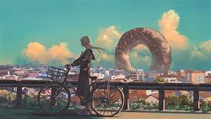 Wallpaper, Girl, Bicycle, City, 4k, Art, 19777
