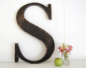 large wall letter s cottage rustic farmhouse 22 tall With large letter wall art