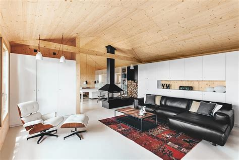 canape angle relax maison moderne en bois design contemporain lambris sol