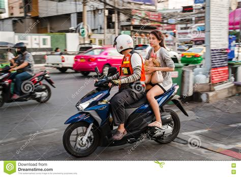 Motorbike Taxi Service In Bangkok Editorial Stock Image