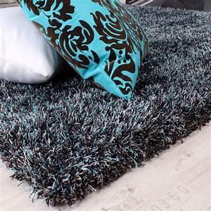 Hochflor Teppich Anthrazit : shaggy teppich hochflor langflor leicht meliert in t rkis ~ Lateststills.com Haus und Dekorationen