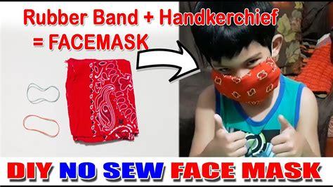 diy  sew face mask   handkerchief  rubber band
