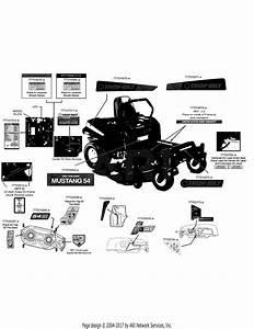 Troy Bilt 17bdcack066 Mustang 54 Xp  2014  Parts Diagram For Label Map