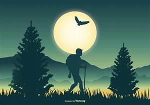 Mountaineer Scene Vector Illustration