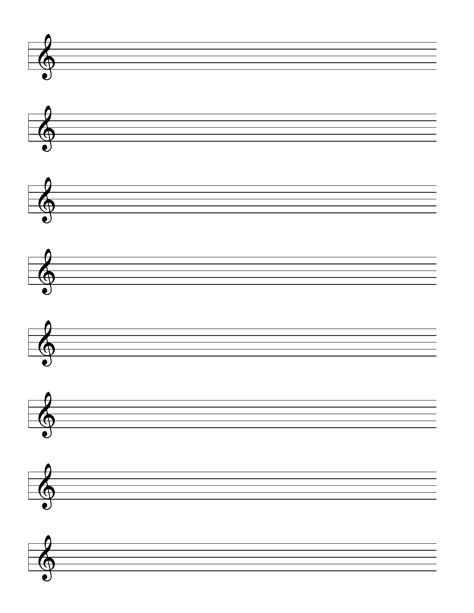 Treble Staff Paper Template by Staff Treble Clef Music Paper Free Download
