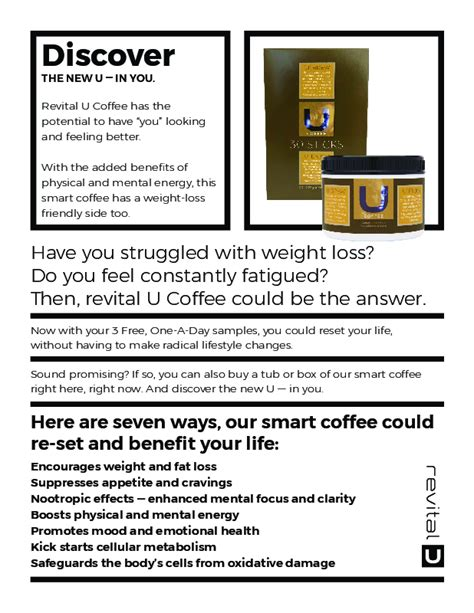 I advise that before you take any products from revital u, you should consult your doctor regarding its ingredients. Want to learn more about revital U Coffee? Check out this PDF for information about ingredients ...