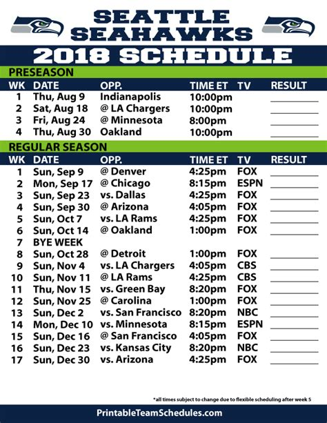 seattle seahawks printable schedule tiny house
