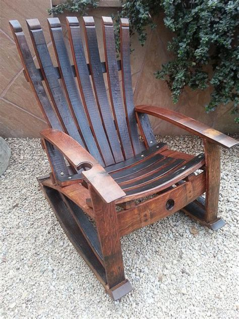 reclaimed hand crafted wine stave rocking chair  etsy