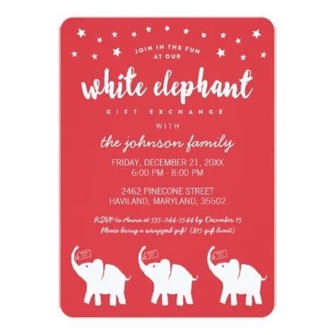 stylish white elephant holiday party invitations ladyprints
