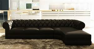 deco in paris canape d angle noir capitonne chesterfield With canape d angle avec grande meridienne