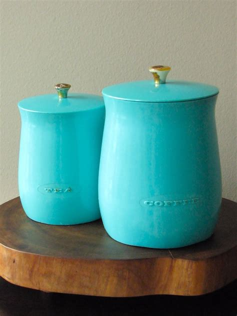 vintage plas tex turquoise kitchen canisters