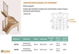 Escalier Quart Tournant Milieu Dimension by Escalier Double Quart Tournant En Sapin Escalier Double