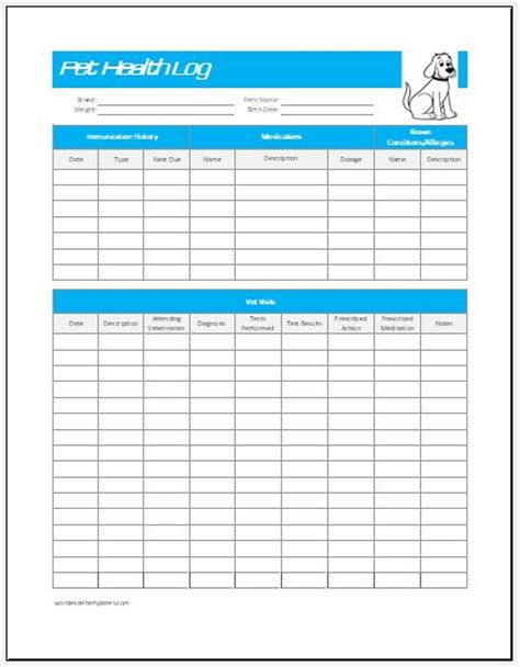 pet health log template  excel word excel templates