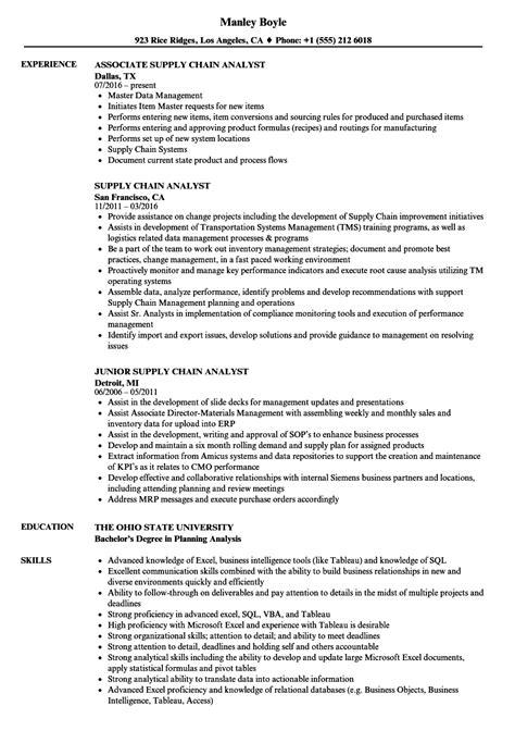 Supply Chain Analyst Resume by Supply Chain Analyst Resume Sles Velvet