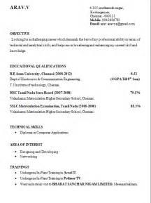 mba resume format for freshers doc resume templates