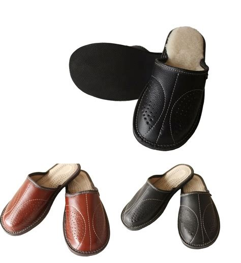 mens leather slip  winter scuff slippers house shoes