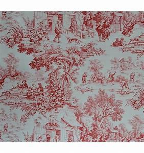 Toile De Jouy : toile de jouy fabric red 100 cotton print textiles fran ais ~ Teatrodelosmanantiales.com Idées de Décoration
