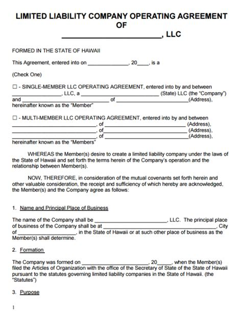 hawaii llc operating agreement template  word