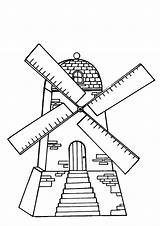 Windmills Coloring Pages Mill Flour Windmill Printable Sketch Fun Template Windmolens sketch template