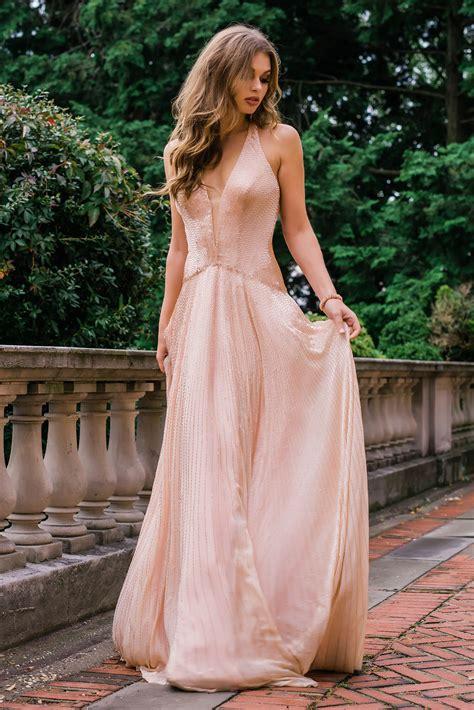 jovani  champagne beaded halter plunging neck dress