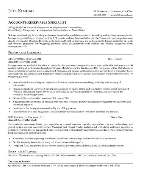 Account Receivable Resume Sle by Accounts Receivable Clerk Resume Exle Sle Resumes