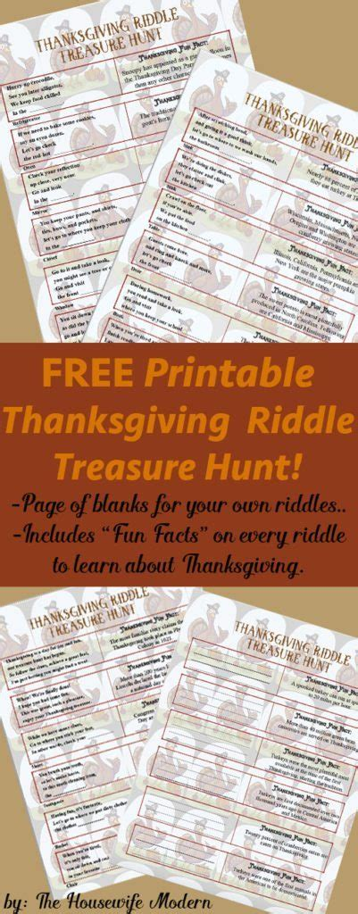 printable thanksgiving riddle treasure hunt mix match clues