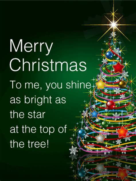 shining star christmas tree card birthday greeting
