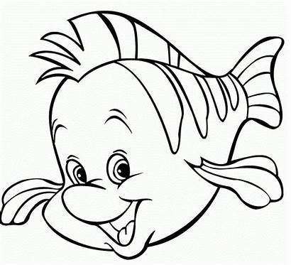Fish Coloring Flounder Cartoon Pages Clipart Disney