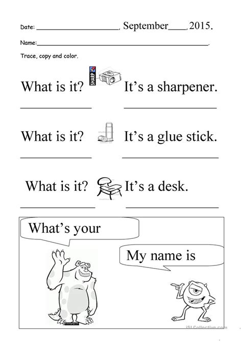 What Is It? What's Your Name? Trace And Copy Worksheet  Free Esl Printable Worksheets Made By