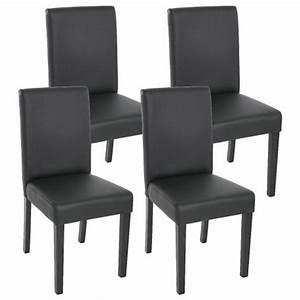 Lot de 4 chaises de salle a manger simili cuir noir mat for Meuble salle À manger avec chaise salle a manger simili cuir blanc