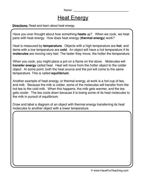 Heat Energy Worksheets  Kidz Activities