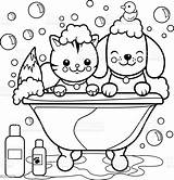 Coloring Dog Cat Bath Taking Tub Pages Bubble Printable Puppy Illustration Vector Animal Grooming Bathtub Cartoon Drawing Sheets Clip Clipart sketch template