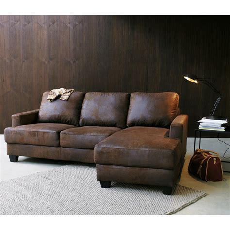 canapé faux cuir canapé d 39 angle droit 3 4 places en microsuède marron