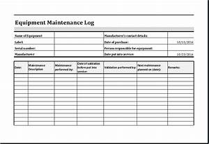 equipment maintenance log template ms excel excel templates With machine maintenance checklist template