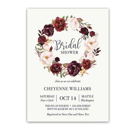 burgundy floral bridal shower invitation watercolor wreath an wedding bridal shower