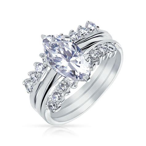 silver marquis cut cz engagement wedding ring set