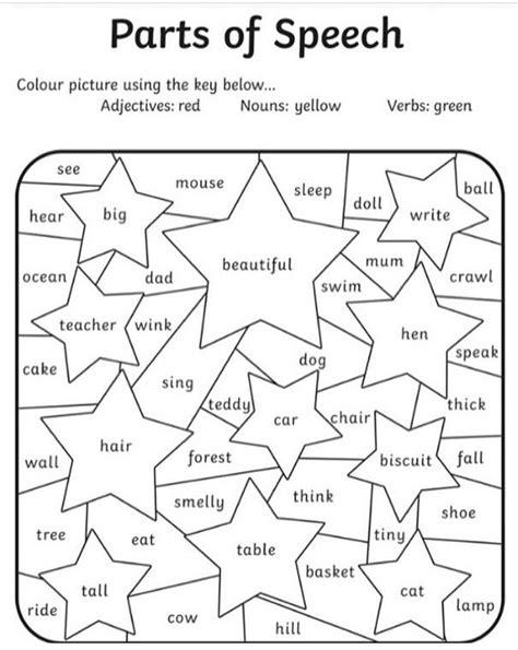 parts  speech coloring page ela english teaching