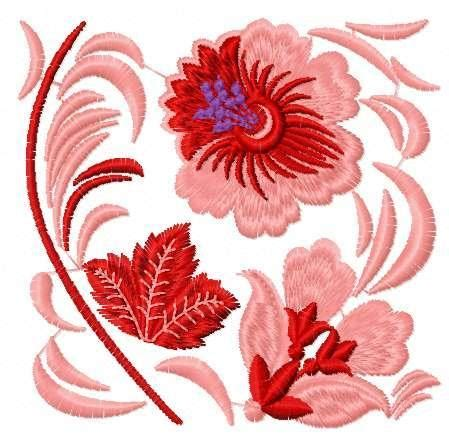 red flowers block  embroidery design flowers